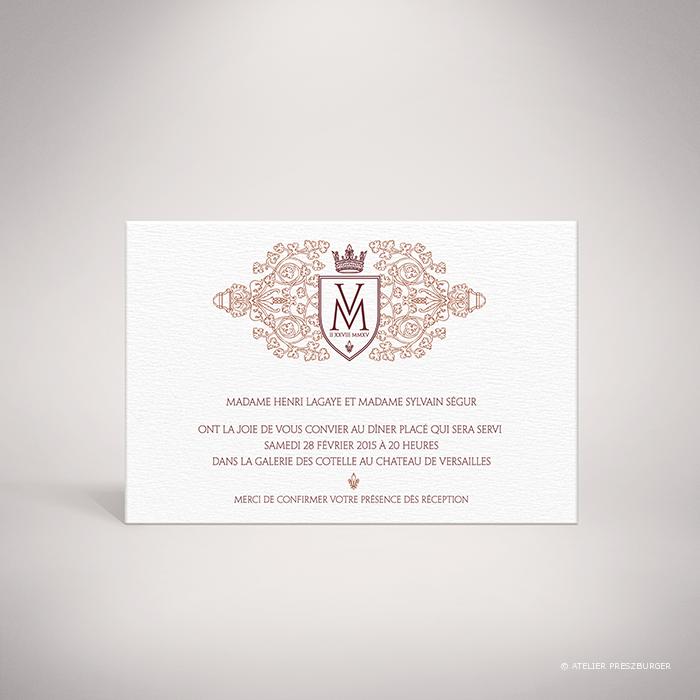 Lagaye – Carton invitation de mariage classique royal par Julien Preszburger – Photo non contractuelle