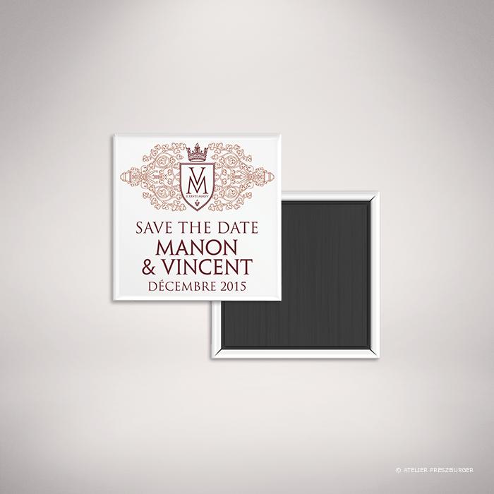 Lagaye – Magnet «save the date» de mariage classique royal par Julien Preszburger – Photo non contractuelle