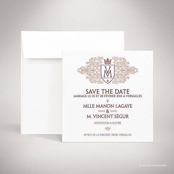 Lagaye – Carte «save the date» de mariage classique royal par Julien Preszburger – Photo non contractuelle