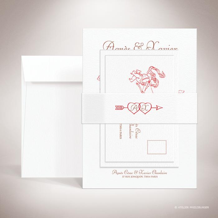 Césac – Bande de maintien «belly band» de mariage sur le thème de Cupidon, ange de l'amour par Julien Preszburger – Photo non contractuelle