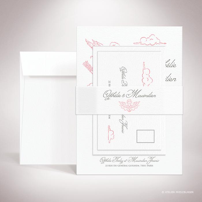 Ivoley – Bande de maintien «belly band» de mariage sur le thème de Cupidon, ange de l'amour par Julien Preszburger.