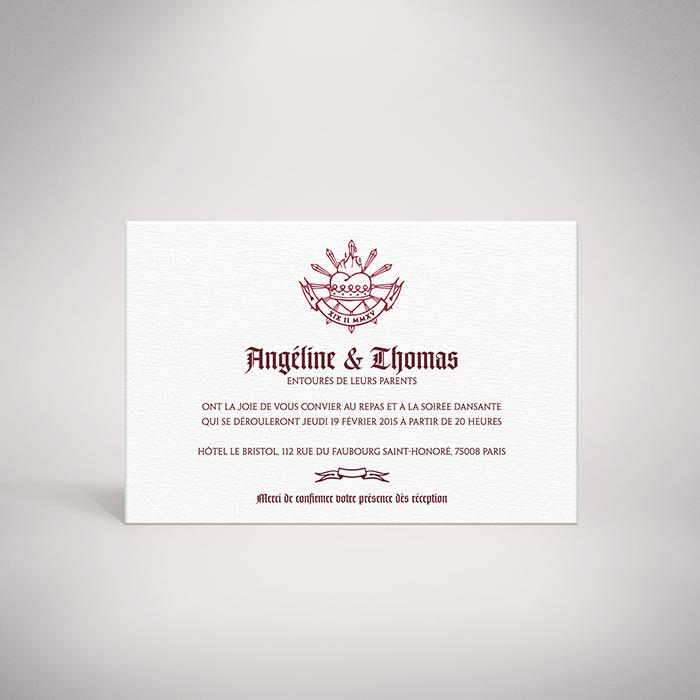 Beaumont – Carton invitation contemporain sur le thème du « Sacré-Coeur » par Julien Preszburger – Photo non contractuelle
