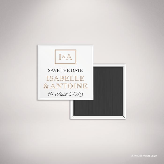 Labroise – Magnet «save the date» de mariage classique typographique par Julien Preszburger – Photo non contractuelle