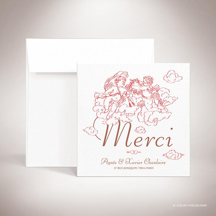 Césac – Carte de remerciement mariage sur le thème de Cupidon, ange de l'amour par Julien Preszburger – Photo non contractuelle
