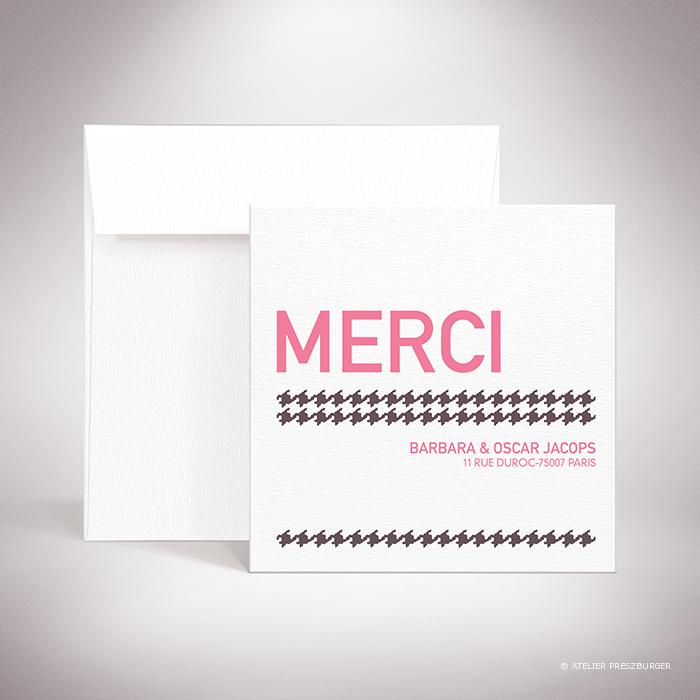 Crest – Carte de remerciement de mariage dans un style contemporain, illustrée d'un motif pied de poule par Julien Preszburger – Photo non contractuelle