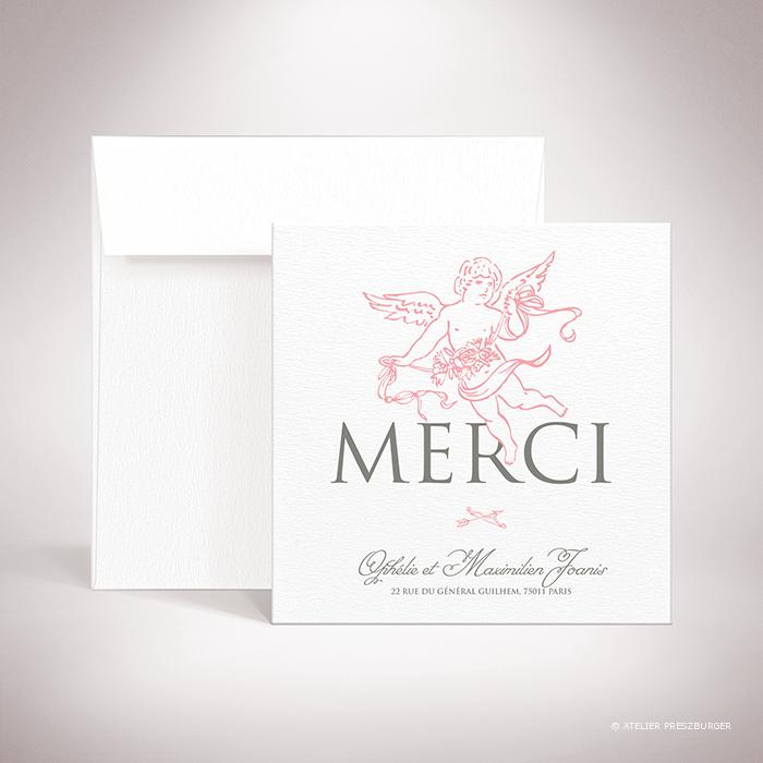 Ivoley – Carte de remerciement mariage sur le thème de Cupidon, ange de l'amour par Julien Preszburger – Photo non contractuelle