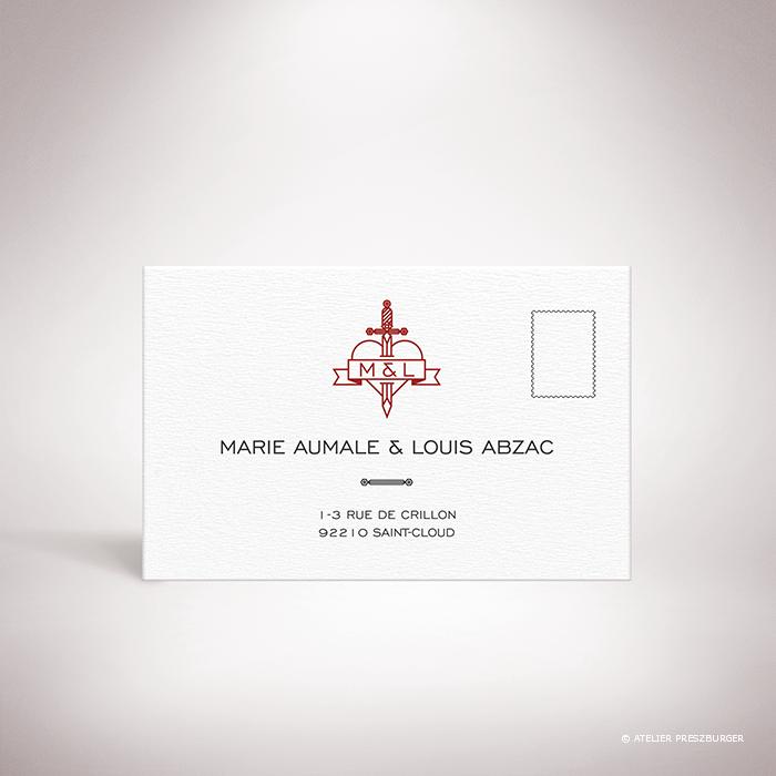 Aumale – Carton réponse de mariage dans un style contemporain sur le thème de l'amour passionné, illustré d'un cœur transpercé d'une dague par Julien Preszburge – Photo non contractuelle