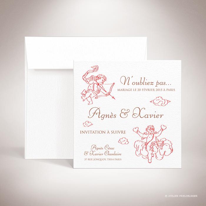 Césac – Carte Save the date mariage sur le thème de Cupidon, ange de l'amour par Julien Preszburger – Photo non contractuelle