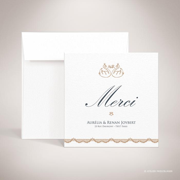 Barjac – Carte de remerciement de mariage classique de style royal, illustrée d'un couple de cygnes par Julien Preszburger – Photo non contractuelle