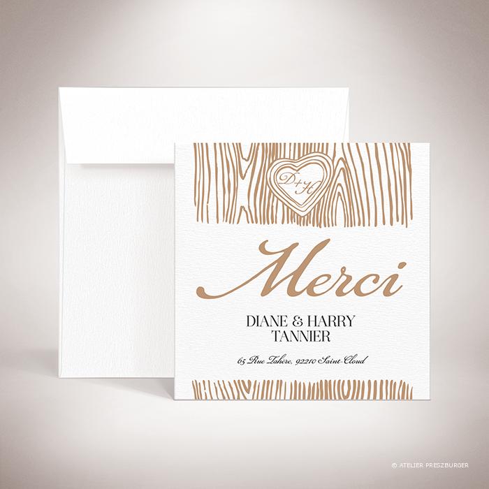 Holz – Carte de remerciement de mariage dans un style contemporain, décorée d'une écorce d'arbre et gravée d'un cœur avec un monogramme par Julien Preszburger – Photo non contractuelle