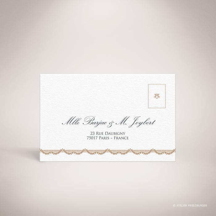 Barjac – Carton réponse de mariage classique de style royal, illustré d'un couple de cygnes par Julien Preszburger – Photo non contractuelle