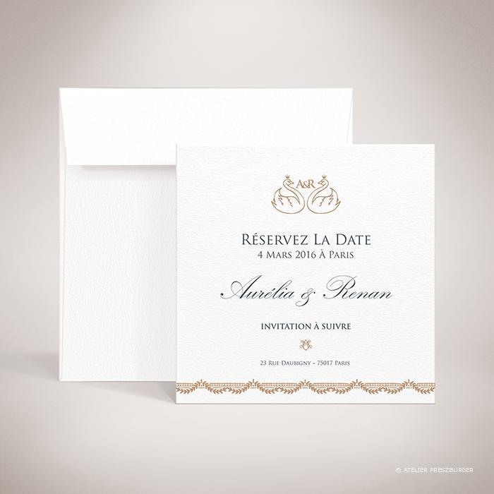 Barjac – Carte save the date de mariage classique de style royal, illustrée d'un couple de cygnes par Julien Preszburger – Photo non contractuelle
