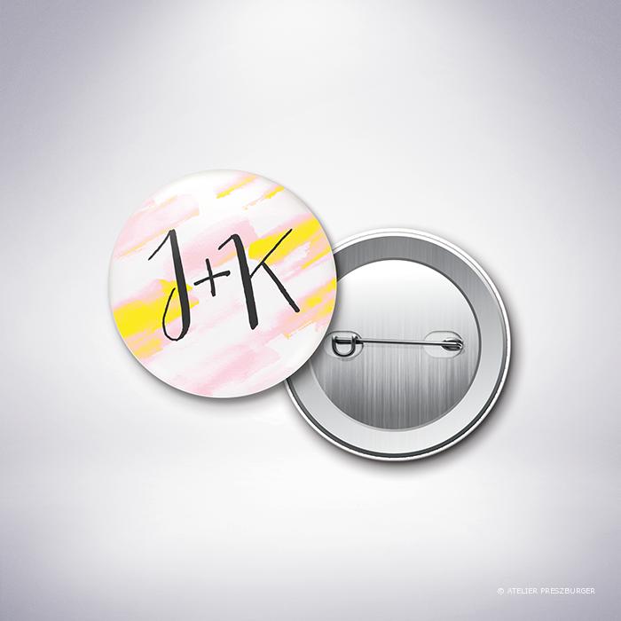 Isabey – Badge de mariage contemporain de style abstrait à l'aquarelle par Julien Preszburger – Photo non contractuelle