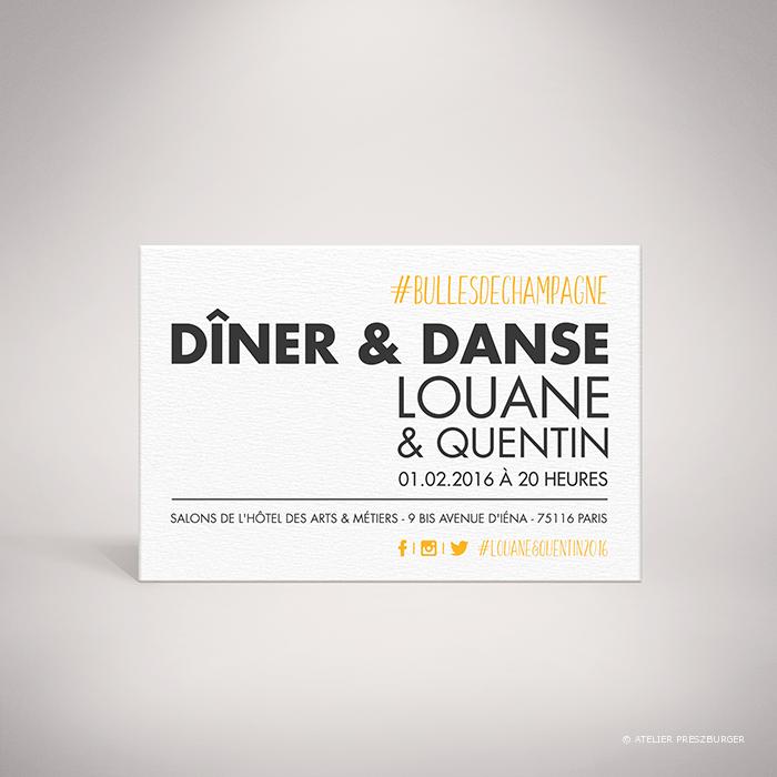 Halna – Carton invitation de mariage contemporain de style typographique sur le thème du #Hashtag et des réseaux sociaux par Julien Preszburger – Photo non contractuelle