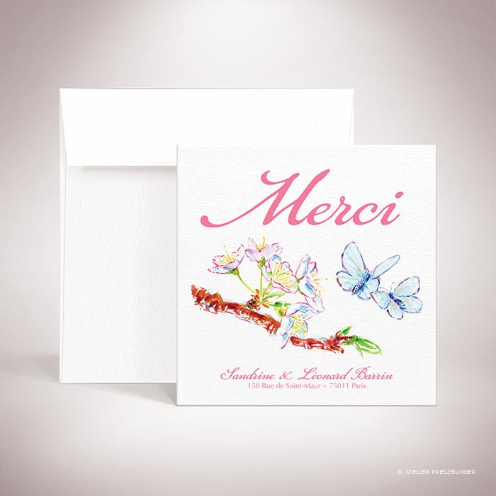 Burlat – Carte de remerciement de mariage de style bucolique, sur le thème du printemps, illustré de fleurs de cerisier et de papillons à l'aquarelle par Julien Preszburger – Photo non contractuelle