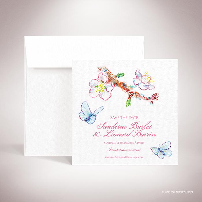 Burlat – Carte « save the date » de mariage de style bucolique, sur le thème du printemps, illustré de fleurs de cerisier et de papillons à l'aquarelle par Julien Preszburger – Photo non contractuelle