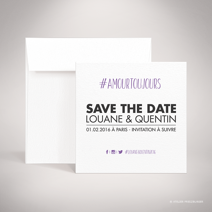 Halna – Carte save the date de mariage contemporain de style typographique sur le thème du #Hashtag et des réseaux sociaux par Julien Preszburger – Photo non contractuelle