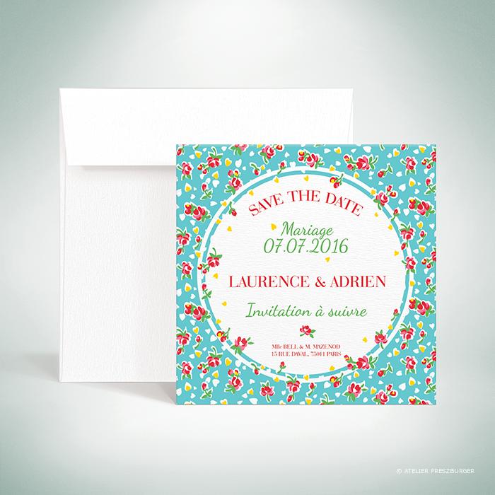 Bell – Carte «save the date» de mariage de style vintage sur le thème des fleurs, illustrée d'un motif de roses par Julien Preszburger – Photo non contractuelle