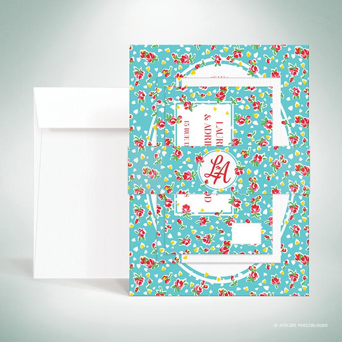 Bell – Bande de maintien «belly band» de mariage de style vintage sur le thème des fleurs, illustrée d'un motif de roses par Julien Preszburger – Photo non contractuelle