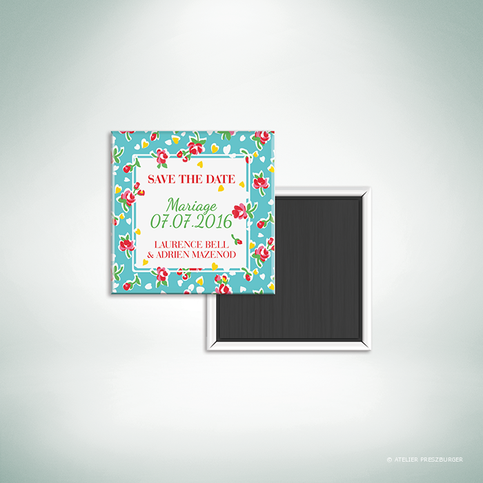 Bell – Magnet «save the date» de mariage de style vintage sur le thème des fleurs, illustré d'un motif de roses par Julien Preszburger – Photo non contractuelle
