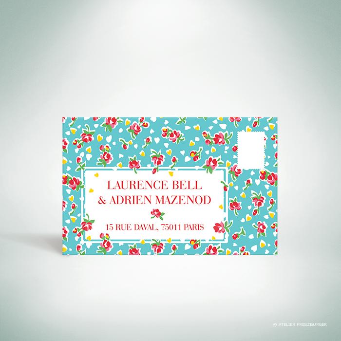 Bell – Carton réponse de mariage de style vintage sur le thème des fleurs, illustré d'un motif de roses par Julien Preszburger – Photo non contractuelle