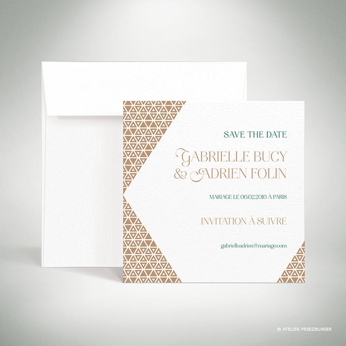 Bucy – Carte « save the date » de mariage contemporain de style graphique et géométrique par Julien Preszburger – Photo non contractuelle