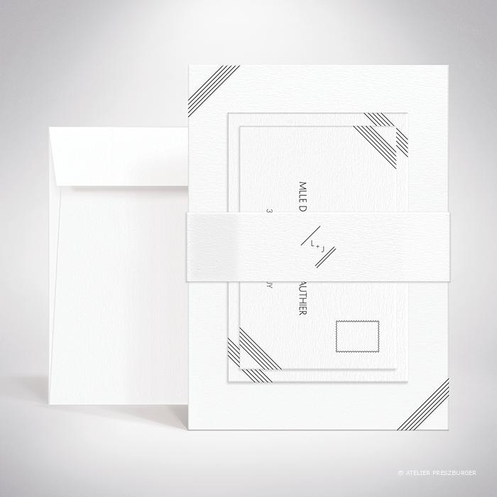 Dumont – Bande de maintien «belly band» de mariage contemporain de style typographique par Julien Preszburger – Photo non contractuelle