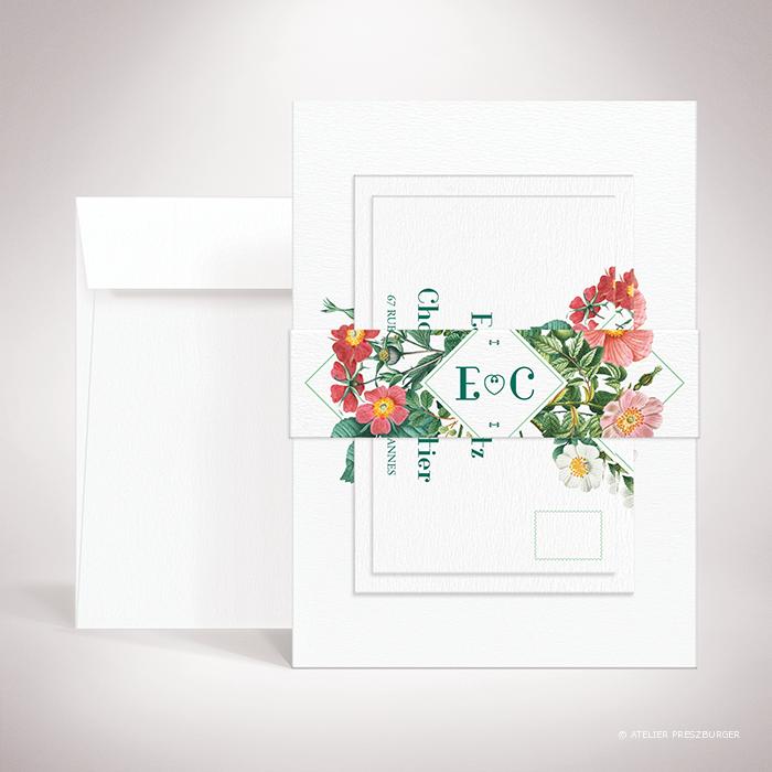 Batz – Bande de maintien «belly band» de mariage de style floral, sur le thème des roses sauvages, illustrée par Julien Preszburger – Photo non contractuelle
