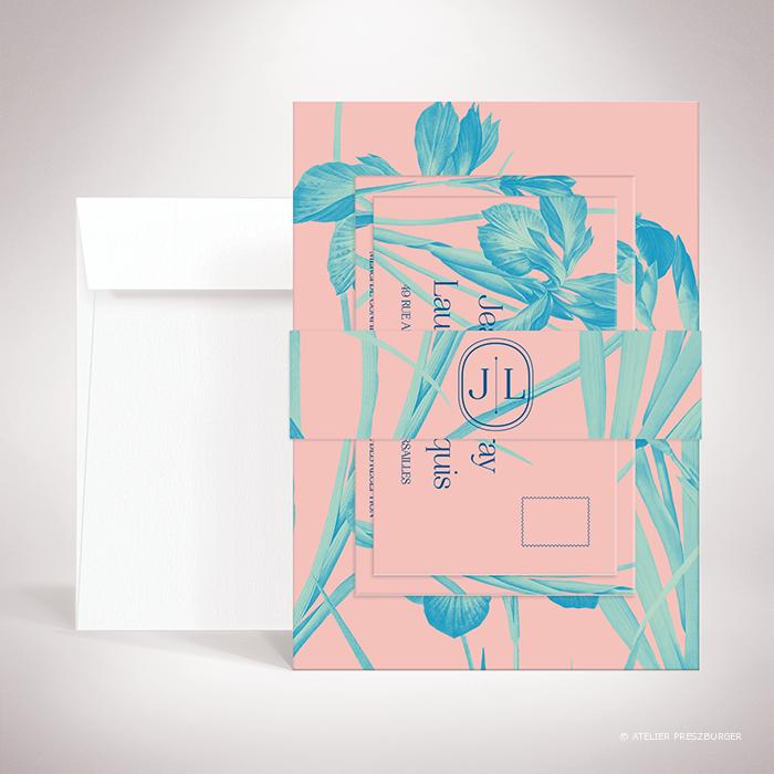 Feray – Bande de maintien Feray de la collection mariage sur le thème des fleurs, illustrée d'Iris par Julien Preszburger – Photo non contractuelle
