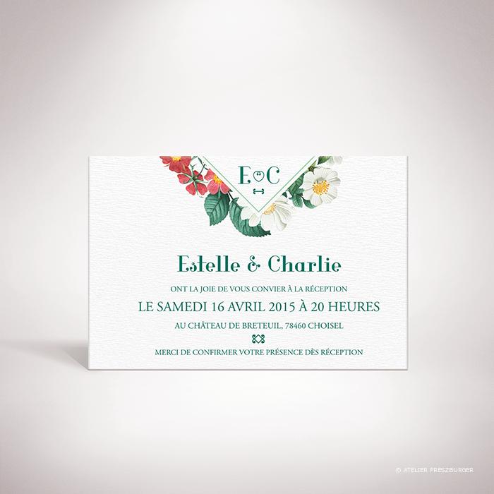 Batz – Carton invitation de mariage de style floral, sur le thème des roses sauvages, illustré par Julien Preszburger – Photo non contractuelle