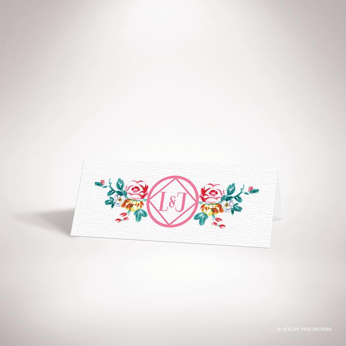 Develly – Marque place de mariage sur le thème des fleurs, inspiré de la porcelaine française et illustré à l'aquarelle par Julien Preszburger – Photo non contractuelle