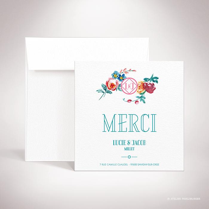 Develly – Carte de remerciement de mariage sur le thème des fleurs, inspirée de la porcelaine française et illustrée à l'aquarelle par Julien Preszburger – Photo non contractuelle