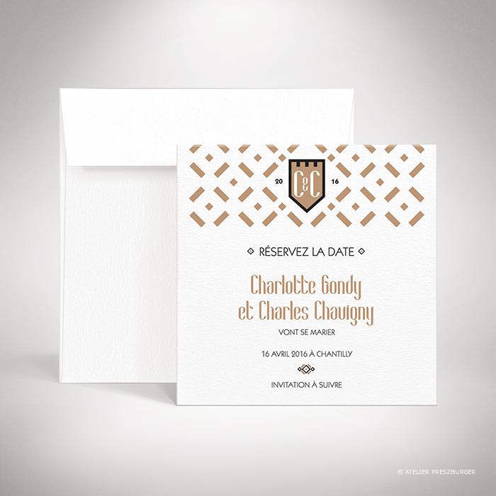 Gondy – Carte Save the date contemporaine Gondy de la collection mariage, de style royal par Julien Preszburger – Photo non contractuelle