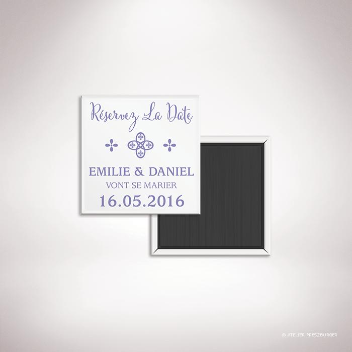 Chabot – Magnet «save the date» de mariage de mariage classique, illustré d'un motif sacré par Julien Preszburger – Photo non contractuelle