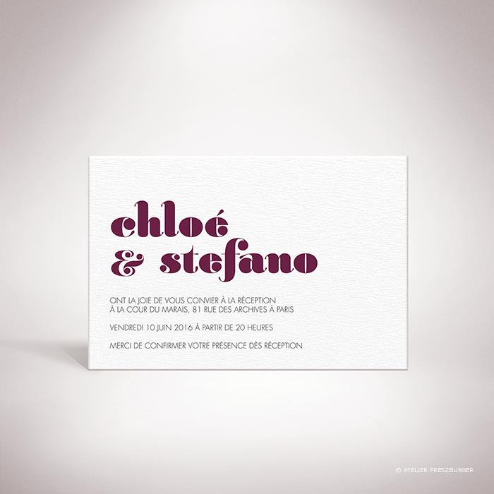 Delort – Carton invitation de mariage contemporain de style typographique par Julien Preszburger – Photo non contractuelle