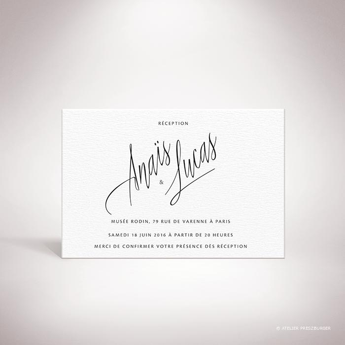 Galand – Carton invitation de mariage contemporain de style typographique par Julien Preszburger – Photo non contractuelle