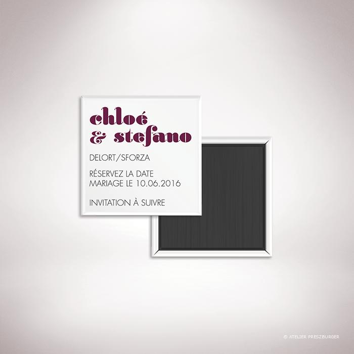 Delort – Magnet «save the date» de mariage contemporain de style typographique par Julien Preszburger – Photo non contractuelle