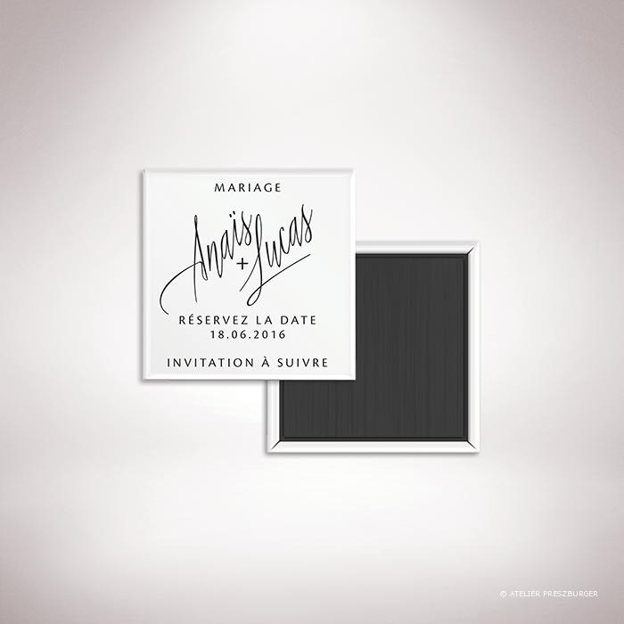 Galand – Magnet «save the date» de mariage contemporain de style typographique par Julien Preszburger – Photo non contractuelle