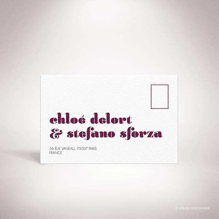 Delort – Carton réponse de mariage contemporain de style typographique par Julien Preszburger – Photo non contractuelle