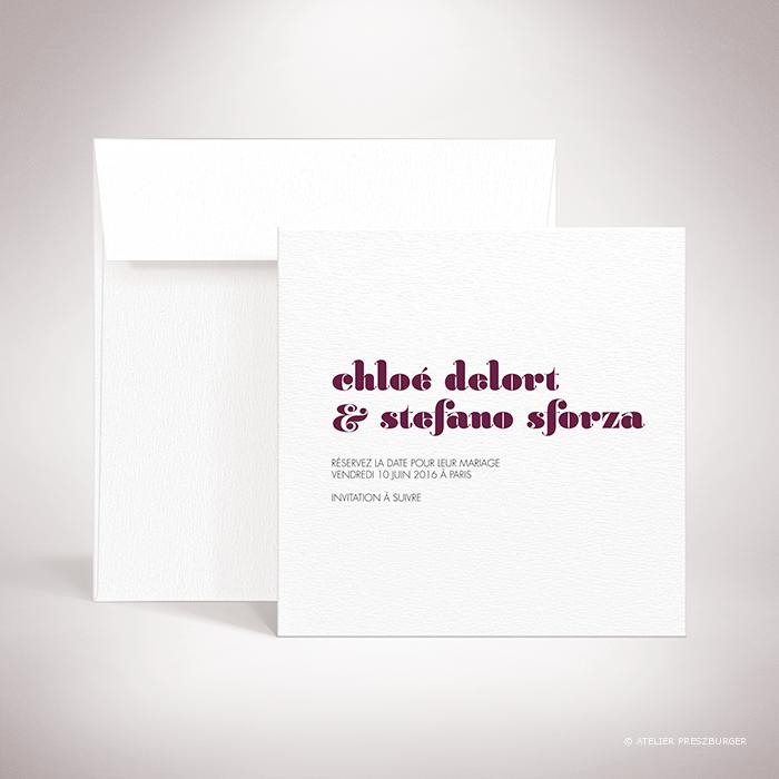 Delort – Carte save the date de mariage contemporain de style typographique par Julien Preszburger – Photo non contractuelle