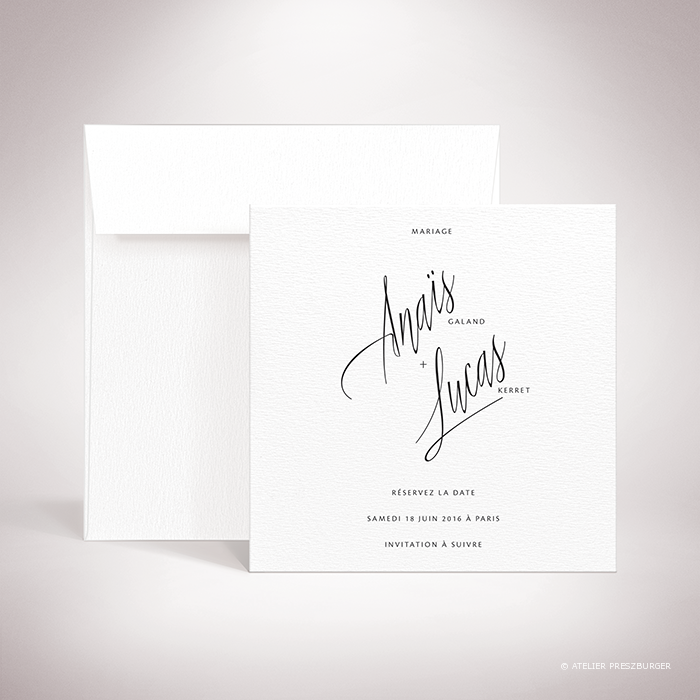 Galand – Carte save the date de mariage contemporain de style typographique par Julien Preszburger – Photo non contractuelle