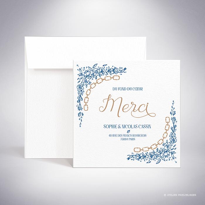 Abzac – Carte de remerciement de mariage contemporain de style illustratif sur le thème des fleurs sauvages par Julien Preszburger – Photo non contractuelle