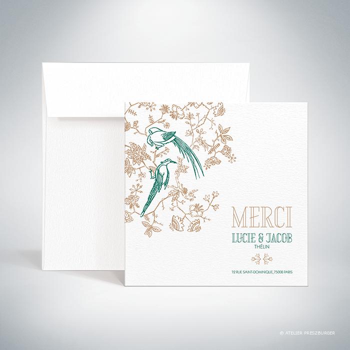 Andras – Carte de remerciement de mariage de style illustratif sur le thème des oiseaux du paradis par Julien Preszburger – Photo non contractuelle