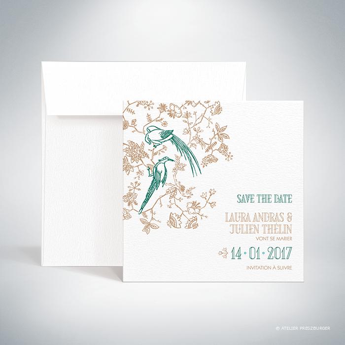 Andras – Carte save the date de mariage de style illustratif sur le thème des oiseaux du paradis par Julien Preszburger – Photo non contractuelle
