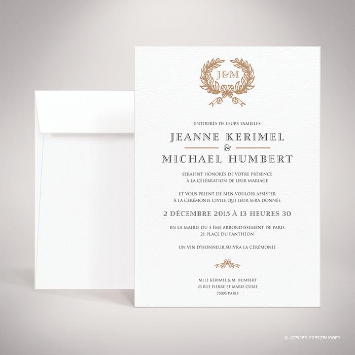 Kerimel – Faire-part de mariage classique par Julien Preszburger – Photo non contractuelle