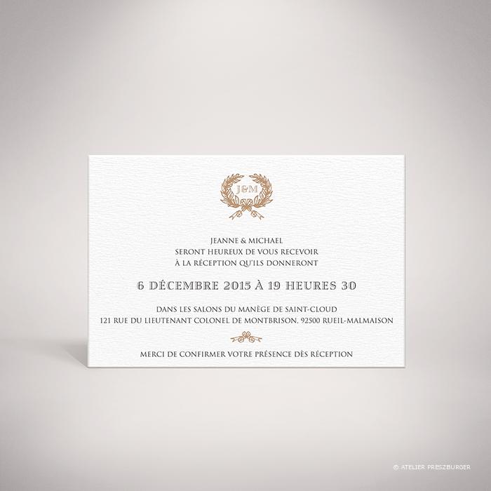 Kerimel – Carton invitation de mariage classique par Julien Preszburger – Photo non contractuelle