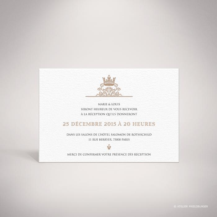 Miollis – Carton invitation de mariage classique royal par Julien Preszburger – Photo non contractuelle