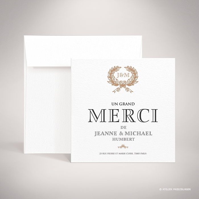 Kerimel – Carte de remerciement de mariage classique par Julien Preszburger – Photo non contractuelle