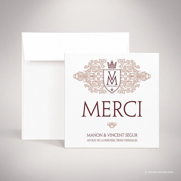 Lagaye – Carte de remerciement de mariage classique royal par Julien Preszburger – Photo non contractuelle