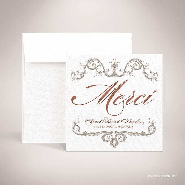 Mansart – Carte de remerciement de mariage classique par Julien Preszburger – Photo non contractuelle